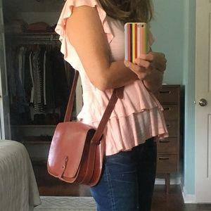 Lucky Brand saddle brown leather crossbody bag